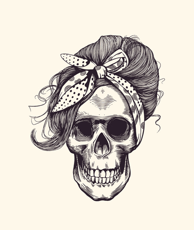 Stylish human skull with fashionable  hairstyle and headscarf hand drawn in woodcut style illustration.
