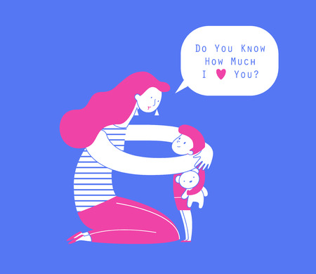 Mom hugging her child with teddy bear, expression of love and care illustration.