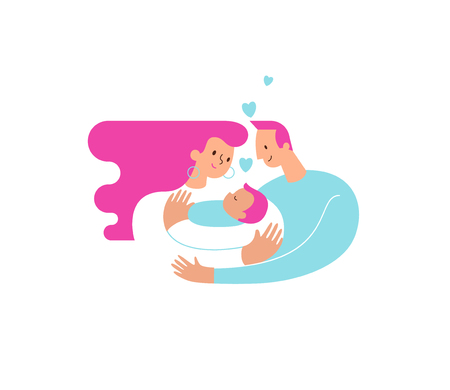 Woman and man hugging and cuddling a baby illustration