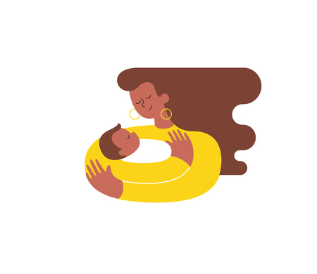 Young African-American woman hugging and cuddling her baby boy or girl and nursing him. Mother embracing newborn son and expressing love and care. Modern illustration. Isolated Vector