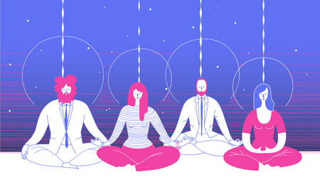 Office workers in smart clothing sitting in yoga position and meditate against abstract blue background.