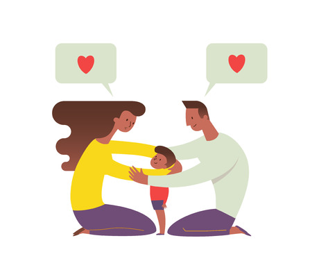 Parents hugging son. Mom and dad embracing their child and talking to him. Concept of loving family and happy parenting. Flat cartoon characters isolated on white background. Vector illustration Ilustração