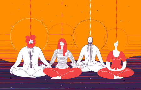 Several office workers in smart clothing sit in yoga position and meditate. Concept of business meditation, mindfulness, concentration, and team building activity. Vector illustration for poster Illustration