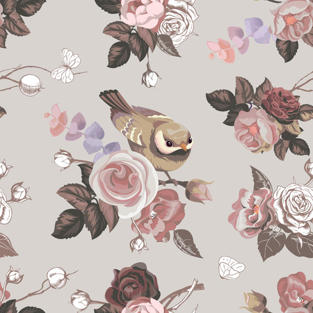 Elegante diseño floral sin fisuras con coloridos racimos de rosas y lindo pajarito en el fondo. Ilustración vectorial en estilo retro para papel tapiz, impresión textil, papel de regalo Foto de archivo - 98731610