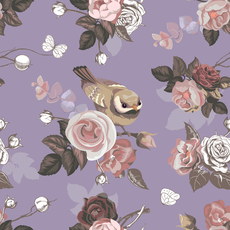 Floral seamless pattern with colorful bunches of roses and cute little bird on background, vector illustration in retro style for wallpaper, textile print, wrapping paper. Ilustração