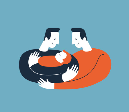 Two men hugging and cuddling baby boy or girl and nursing him. Gay parents embracing newborn adopted baby and expressing love and care. Lesbian and Gay Parents concept. Modern illustration. Vector.