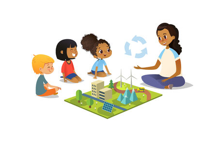 Female teacher discusses ecology Green-city using model landscape, children sit on floor in circle and listen to her. Preschool activities and early childhood education. Vector illustration. Vectores