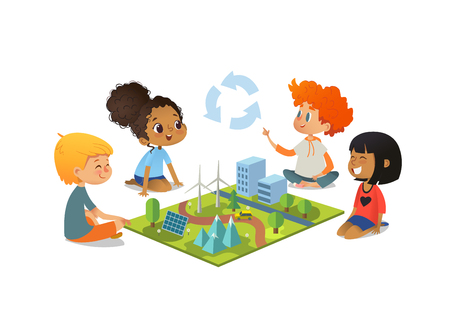 Children sitting on floor explore toy landscape, mountains, Eco-green city, plants, trees, solar panels and wind turbines.Preschool environmental education concept. Cartoon vector illustration.