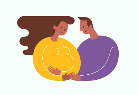 Pregnant African-Americam woman stroking her belly. Happy dad embracing her. Happy motherhood and baby expectation concept. Modern vector illustration