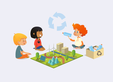 Happy kids sit on floor in circle around toy model with wind and solar power plants, redhead boy demonstrates plastic bottles and discuss recycling and ecological waste disposal. Vector illustration.