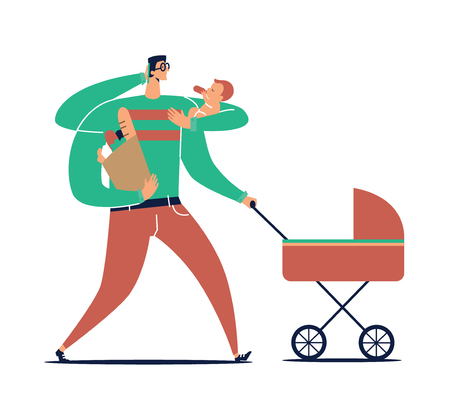 Male cartoon character with many hands carries child, stroller, bag with purchases and talks on phone isolated on white background. Concept of multitasking father and super dad. Vector illustration