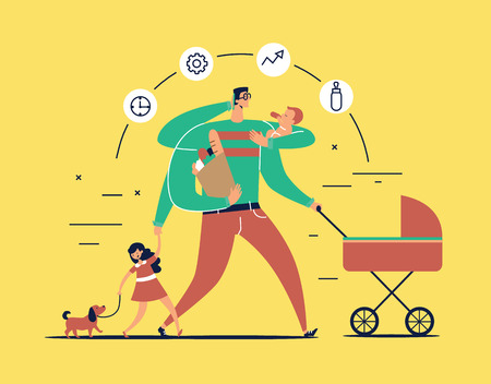 Man with task icons around head and several arms carries newborn child, stroller, bag with food, talks on phone and leads daughter walking dog on leash. Concept of single father. Vector illustration Illustration