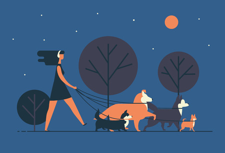 Young woman wearing dress and headphones walks dogs on leash along night street. Girl leisurely strolls with her pets at park in evening. Cartoon colorful vector illustration in modern flat style.