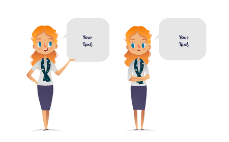 Set of happy and unhappy women or scout troop leaders dressed in smart clothes and speech bubbles with place for text. Bundle of smiling and sad female cartoon characters isolated on white background.