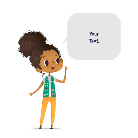 Young smiling African American girl scout dressed in uniform with badges and patches and speech bubble with place for text isolated on white background. Female scouter, member of troop, speaker. Ilustração