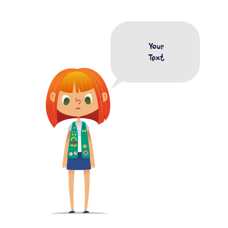 Sad or upset redhead teenage girl scout wearing vest with colorful badges and patches and speech balloon with place for text isolated on white background. Female scouter, member of troop, speaker. Ilustração