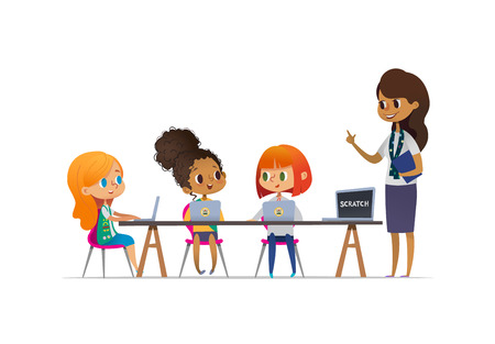 Happy girl scouts sitting at laptops and learning programming during lesson, smiling female troop leader standing near them. Concept of coding for children in scouting camp. Vector illustration.