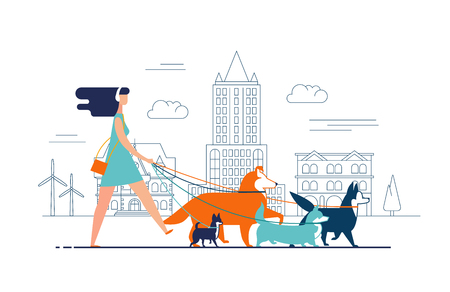 Young girl wearing dress and headphones walks dogs on leash along city street against buildings on background. Female cartoon character promenades or strolls with her domestic animals in downtown.