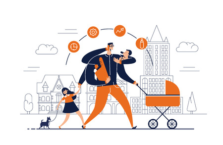 Man with task icons around head and several arms carries newborn child, stroller, bag with food, talks on phone and leads daughter walking dog on leash. Concept of single father. Vector illustration. Vectores