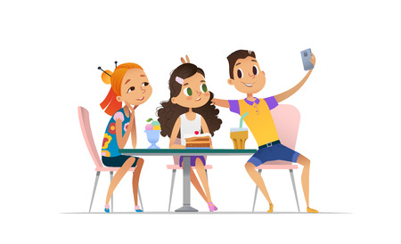 Two girls and boy meeting at the cafe a and taking selfie. Teenagers friends at the restaurant taking photo on phone. Smiling students having coffee-break and taking self-portrait. Illustration