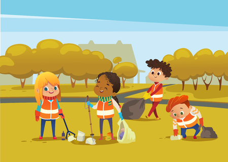Multiracial children wearing orange vests collect rubbish for recycling, Kids gathering plastic bottles and garbage for recycling. Boy throws litter into bin. Early childhood education.Vector. Illustration