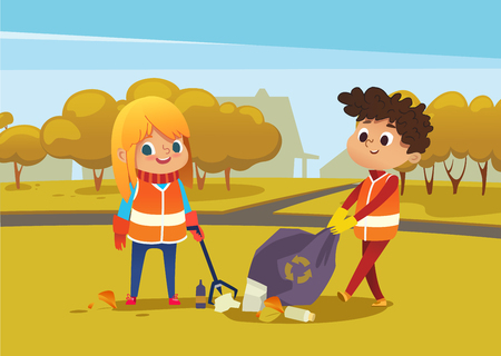 Boy andgirl wearing orange vests collect rubbish for recycling at park. Kids gathering plastic bottles and garbage for recycling. Boy throws litter into bin. Early childhood education.Vector illustration.