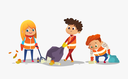 Two boys and girl wearing orange vests collect rubbish for recycling, Kids gathering plastic bottles and garbage for recycling. Early childhood education.Vector. isolated