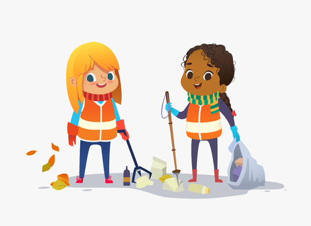 Two girls wearing unoform collect rubbish for recycling at park. Kids gathering plastic bottles and garbage for recycling. Boy throws litter into bin. Early childhood education.Vector. Isolated.
