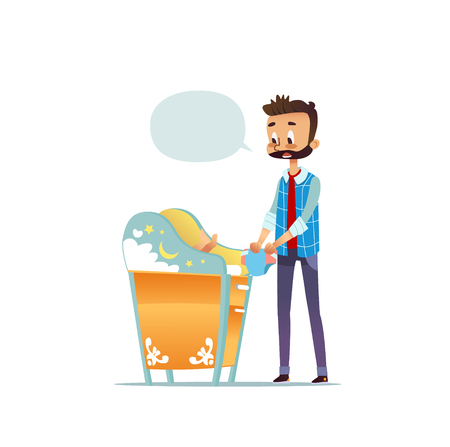 Bearded man changing diaper of newborn baby. Dad taking care of child and blank speech bubble isolated on white background. Concept of young inexperienced father. Flat cartoon vector illustration