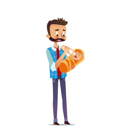Man holding and feeding newborn child with nursing bottle. Dad giving milk to infant. Single father taking care of baby. Cute cartoon character isolated on white background. Flat vector illustration