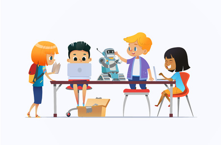 Boys and girls standing and sitting around desk with laptops and robot and working on school project for programming lesson. Concept of coding and robotics for kids. Flat cartoon vector illustration.