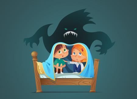 침대에 앉아 담요 아래 무서운 유령으로부터 숨어있는 겁 먹은 아이들의 쌍. 두려운 아이들과 상상의 괴물. 만화 캐릭터 흰색 배경에 고립입니다. 벡터 일러스트 레이 션.