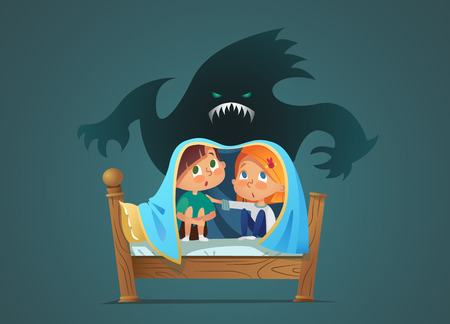 Pair of scared children sitting on bed and hiding from frightening ghost under blanket. Fearful kids and imaginary monster. Cartoon characters isolated on white background. Vector illustration.