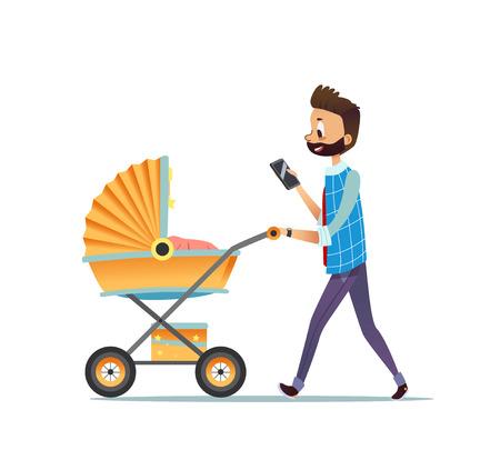Vater, der mit Kind geht, das im Kinderwagen liegt und SMS auf Smartphone schreibt. Vater, der Kinderwagen mit seinem neugeborenen Baby trägt, lokalisiert auf weißem Hintergrund. Vaterschaft oder Elternschaft. Vektorillustration. Standard-Bild