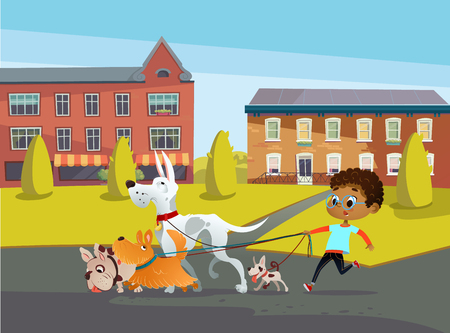 African-American boy holds a dog-lead and looks after pets. Kid walks dogs on leash along city street against buildings on background. Cartoon character strolls with her domestic animals in downtown Illustration