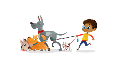 African-American boy holds a dog-lead and looks after pets. Kid walks dogs on leash along city street against buildings on background. Cartoon character strolls with her domestic animals in downtown.