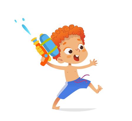 Niño pelirrojo con bañador correr con una pistola de agua de juguete. Diseño de personajes de dibujos animados para la fiesta en la piscina. Ilustración de vector. Aislado.