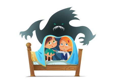 Paar ängstliche Kinder, die auf dem Bett sitzen und sich unter der Decke vor einem schrecklichen Geist verstecken. Ängstliche Kinder und imaginäres Monster. Zeichentrickfiguren lokalisiert auf weißem Hintergrund. Vektorillustration.