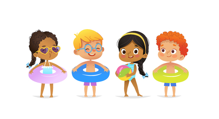 Pool party characters. Multiracial boys and girls wearing swimming suits and rings have fun in pool. African-American Girl standing with ball. Cartoon characters. Vector isolated