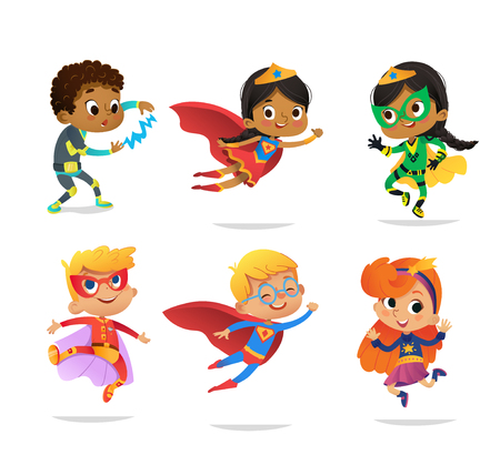 Multiracial Boys and Girls, wearing colorful costumes of various superheroes, isolated on white background. Cartoon vector characters of Kid Superheroes, for party, invitations, web, mascot