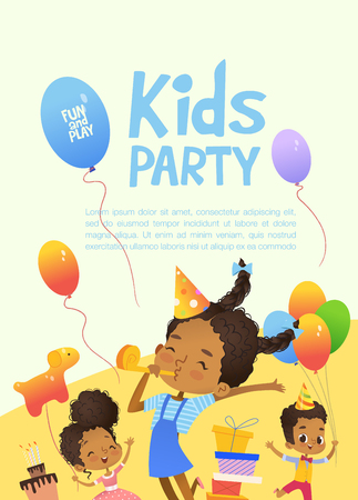 Joyous African-American kids in birthday hats and balloons happily jump. Cute rabbits, a bunch of presents on the background. Vector Illustration of a Happy Birthday Greeting Card or invitation flyer Illustration