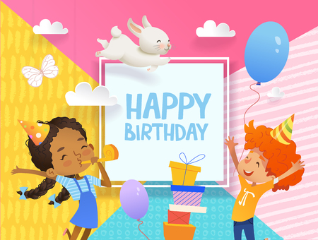 Joyous Boy and girl in birthday hats happily jump. Vector Illustration of a Happy Birthday Greeting Card with balloons, cute rabbits, a bunch of presents on the background.