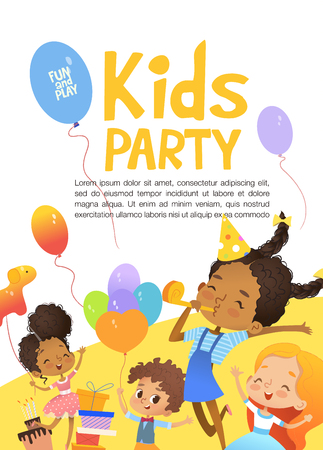 Joyous Multiracial kids in birthday hats and balloons happily jump. Cute rabbits, a bunch of presents on the background. Vector Illustration of a Happy Birthday Greeting Card or invitation flyer.