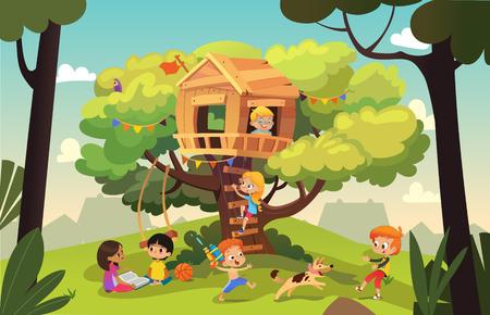 Szczęśliwi wielorasowi chłopcy i dziewczęta bawią się i bawią w domku na drzewie, dzieci bawią się z psem i konewką, czytają książkę i wspinają się po drabinie w sąsiedztwie. Szczegółowa ilustracja wektorowa.