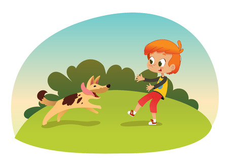 Cute smiling little boy playing with the dog at the neighborhood. Boy and his friend dog running through the garden. Outdoors activities. Best friend concept. Vector illustration. Çizim