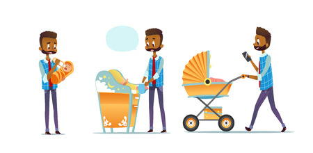 African-American father taking care of child isolated on white background. Set of man feeding baby, changing diaper, carrying stroller. Super dad, modern fatherhood. Flat cartoon vector illustration