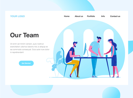 Landing page template of Work Team. Discussion of the company's business strategy. Modern flat design concept of web page design for website and mobile website. Vector illustration.