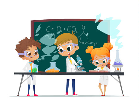 Grappig meisje doet experimenten in het laboratorium. Explosie in het laboratorium. Wetenschap en onderwijs.