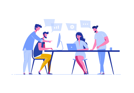 Meeting business people in a flat style. Team discusses social network, news, chat, dialogue speech bubbles near them, negotiate new projects. Discussion of the company's business strategy. Vector.  イラスト・ベクター素材