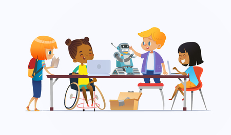 Disabled African American girl in wheelchair and other children standing around desk with laptops and robot and working on school project for programming lesson. Concept of inclusion at school. Imagens - 112299222